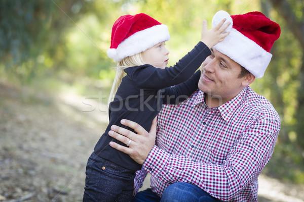 Stockfoto: Vader · dochter · hoeden