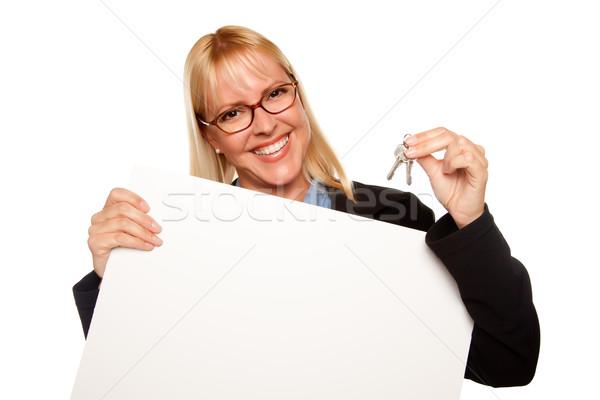 Zdjęcia stock: Atrakcyjny · klucze · biały · podpisania