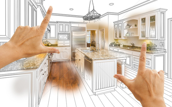 Hands Framing Custom Kitchen Design Drawing and Photo Combinatio Stock photo © feverpitch