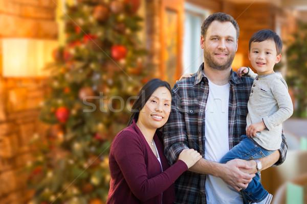 Foto stock: Chinês · caucasiano · pais · criança