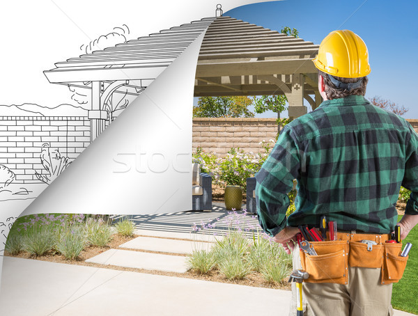 Contractor Facing Pergola Photo with Page Flipping to Drawing Be Stock photo © feverpitch