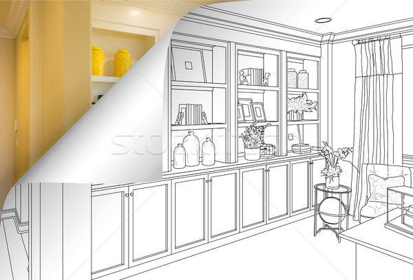 Built-in Shelves and Cabinets Drawing with Page Corner Flipping  Stock photo © feverpitch