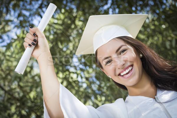 Stock fotó: Félvér · lány · sapka · talár · diploma · vonzó