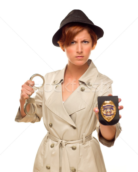 Female Detective With Handcuffs and Badge In Trench Coat Stock photo © feverpitch