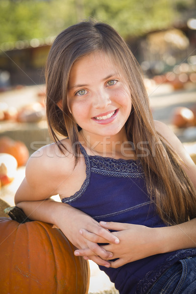 3f5827f8300 Preteen Girl Portrait at the Pumpkin Patch stock photo © Andy Dean ...