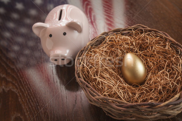 Stock photo: Golden Egg, Nest and Piggy Bank with American Flag Reflection