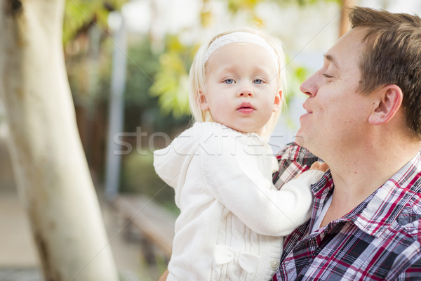 Adorable Little Girl with Her Daddy Portrait Stock photo © feverpitch
