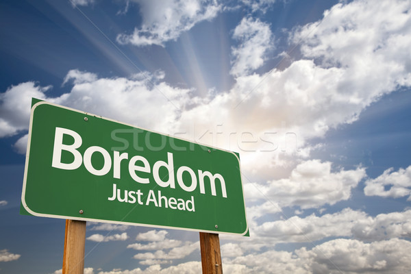 Boredom Just Ahead Green Road Sign  Stock photo © feverpitch
