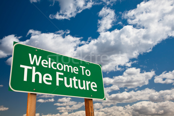 Welcome To The Future Green Road Sign Stock photo © feverpitch