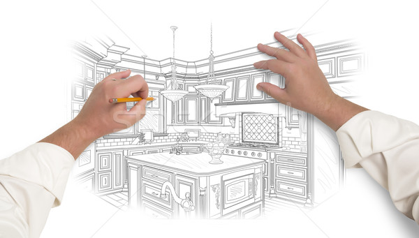 Male Hands Sketching Beautiful Custom Kitchen Stock photo © feverpitch