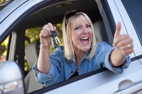 Foto stock: Mujer · atractiva · coche · nuevo · claves · atractivo · feliz · mujer
