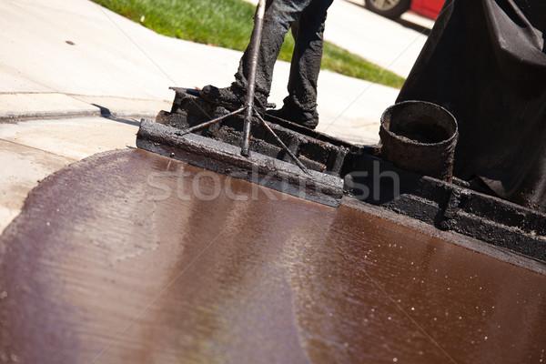 дороги работник улице горячей смола здании Сток-фото © feverpitch