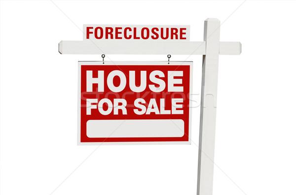 Uitsluiting home verkoop onroerend teken geïsoleerd Stockfoto © feverpitch