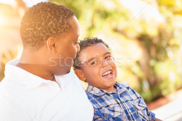 Mixed Race Son and African American Father Playing Outdoors Toge Stock photo © feverpitch