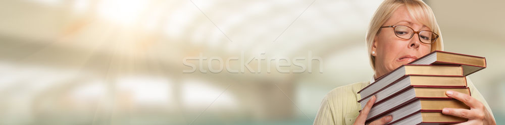 Banner of Beautiful Expressive Student or Businesswoman with Boo Stock photo © feverpitch