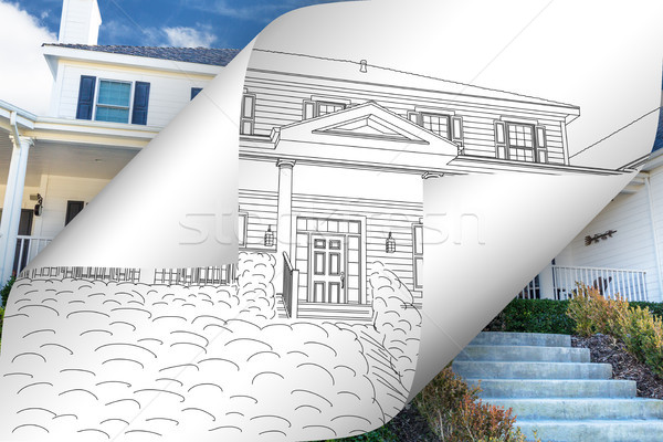 House Drawing Page Corners Flipping with Photo Behind Stock photo © feverpitch