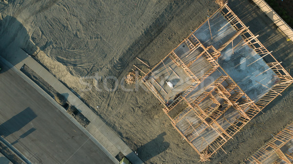 Drone Aerial View of Home Construction Site Foundations and Fram Stock photo © feverpitch