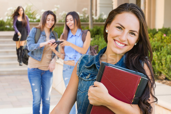 Félvér fiatal lány diák iskola könyvek kampusz Stock fotó © feverpitch