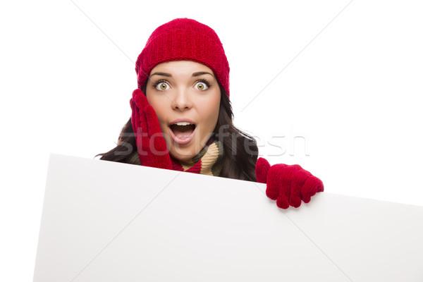 Stok fotoğraf: Kız · kış · şapka · eldiven