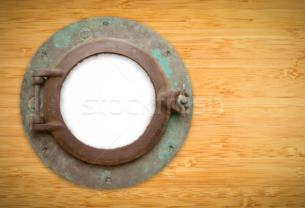 Antique Porthole on Bamboo with Blank Window and Clipping Path Stock photo © feverpitch