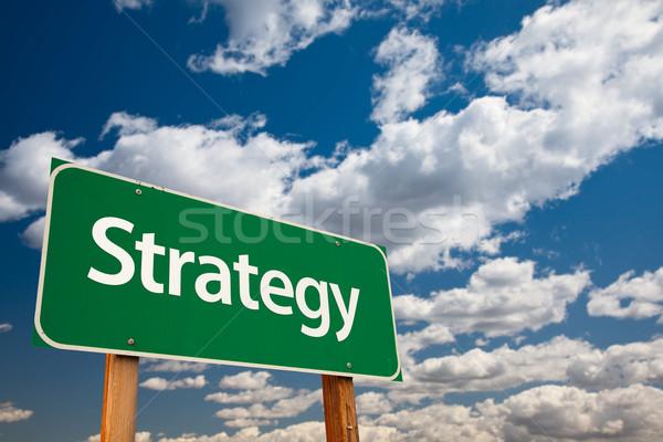 Stock fotó: Stratégia · zöld · jelzőtábla · másolat · szoba · drámai