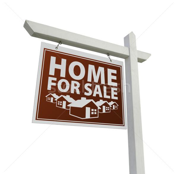 Czerwony domu sprzedaży nieruchomości podpisania biały Zdjęcia stock © feverpitch