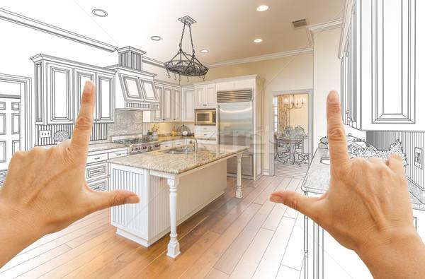 Stockfoto: Handen · gewoonte · keuken · ontwerp · tekening · foto
