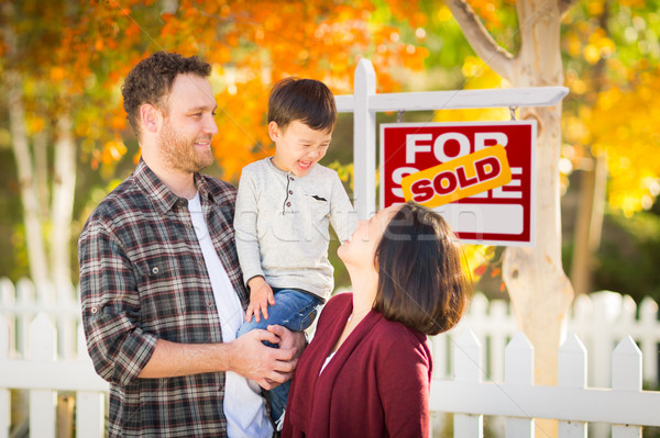 Young Mixed Race Chinese and Caucasian Family In Front of Sold F Stock photo © feverpitch