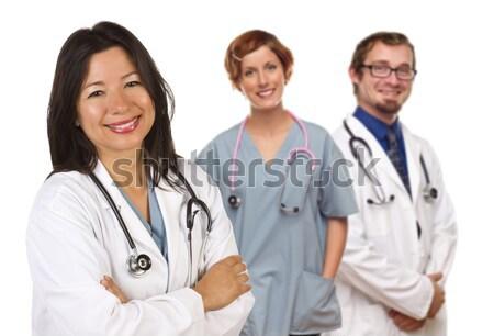 Hiszpańskie kobiet lekarza koledzy za przyjazny Zdjęcia stock © feverpitch