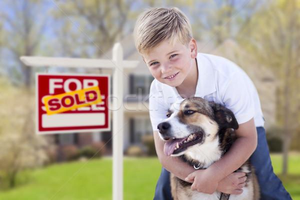 Fiatal srác kutya eladva vásár felirat ház Stock fotó © feverpitch