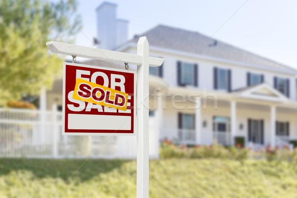 Uitverkocht home verkoop teken onroerend Stockfoto © feverpitch