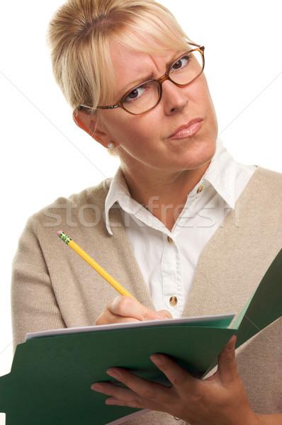 Stok fotoğraf: Güzel · bir · kadın · kalem · Klasör · kâğıt · çalışmak