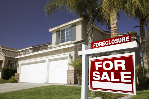 Red Foreclosure For Sale Real Estate Sign and House Stock photo © feverpitch