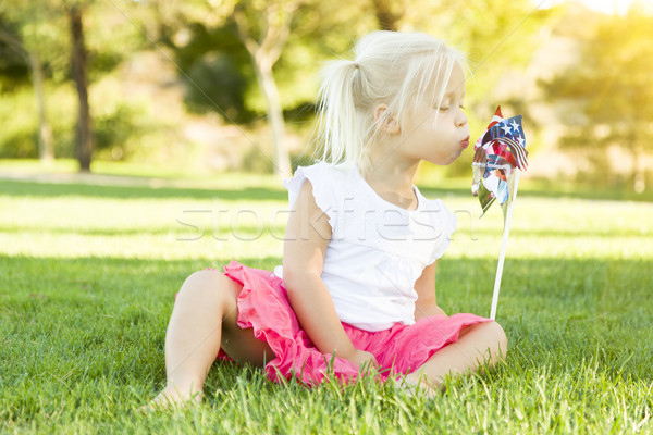 Little Girl In Grass Blowing On Pinwheel Stock photo © feverpitch