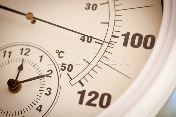 Round Thermometer Showing Over 100 Degrees Stock photo © feverpitch