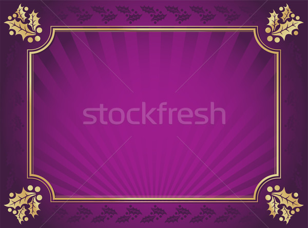 Purple and Gold Elegant Holly Trimmed Background Stock photo © feverpitch