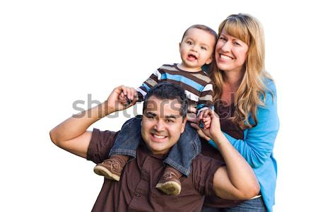Happy Mixed Race Ethnic Family On White Stock photo © feverpitch