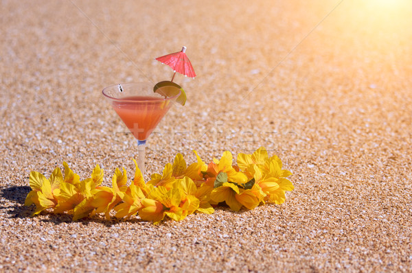 Tropical Drink and Lei on Beach Shoreline Stock photo © feverpitch