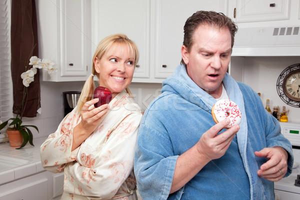 Meyve tatlı çörek sağlıklı beslenme karar çift mutfak Stok fotoğraf © feverpitch