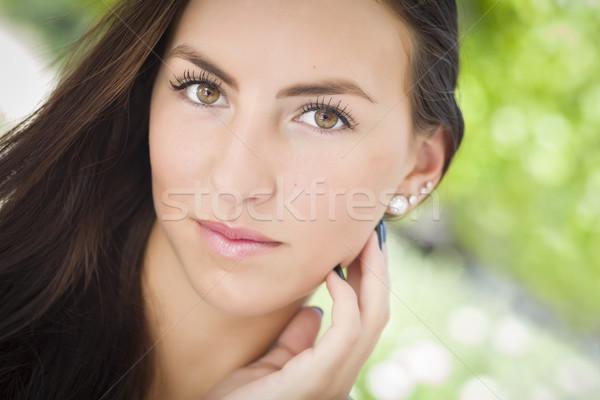 Stock fotó: Vonzó · félvér · lány · portré · kint · nő
