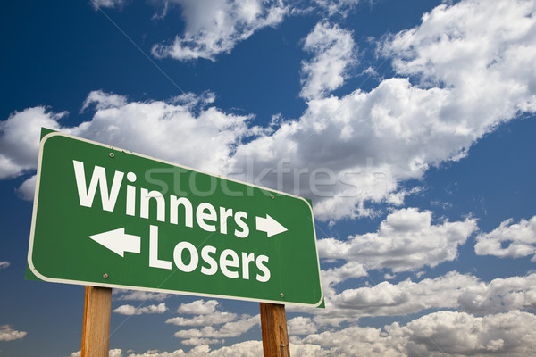 Winners, Losers Green Road Sign Over Clouds Stock photo © feverpitch