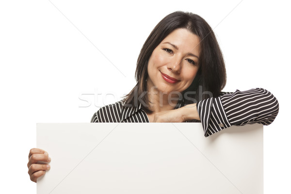 Attractive Mixed Race Woman Holding Blank White Sign Stock photo © feverpitch