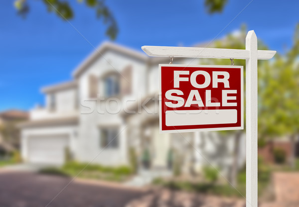 Home For Sale Sign in Front of New House Stock photo © feverpitch