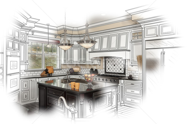 Beautiful Custom Kitchen Design Drawing and Photo Combination Stock photo © feverpitch
