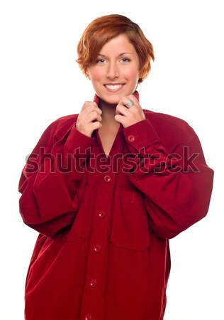 Pretty Red Haired Girl Wearing a Warm Red Corduroy Shirt Stock photo © feverpitch