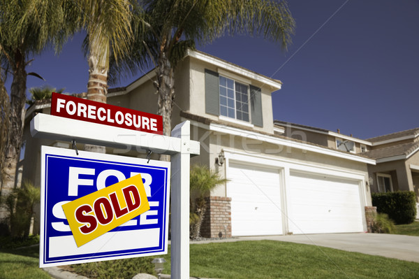 Blue Foreclosure For Sale Real Estate Sign and House Stock photo © feverpitch
