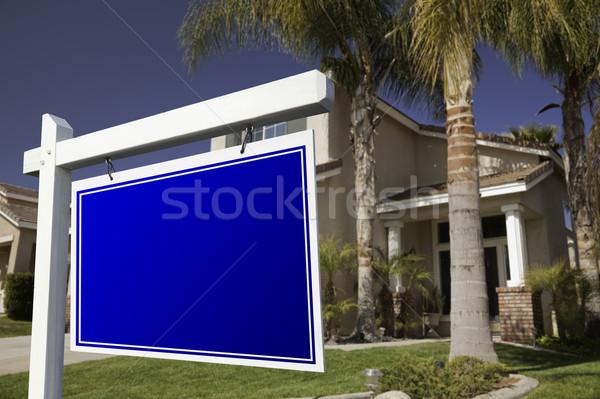 Stockfoto: Onroerend · teken · huis · hemel · home · deur