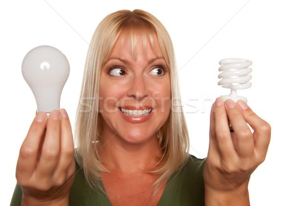 Vrouw energie besparing regelmatig geïsoleerd Stockfoto © feverpitch