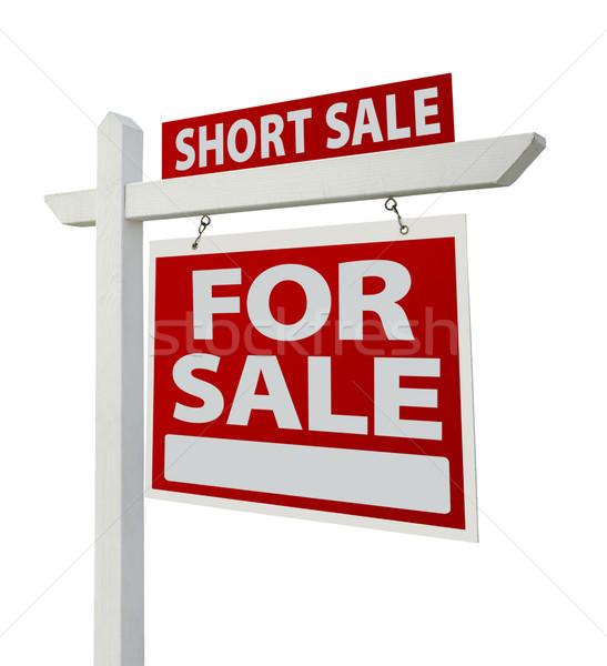 Zdjęcia stock: Krótki · sprzedaży · nieruchomości · podpisania · odizolowany