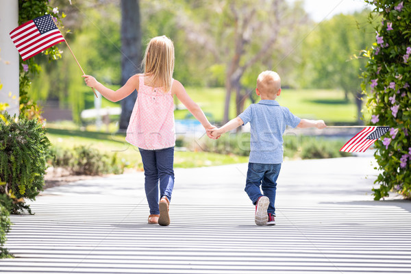 Young Sister and Brother Holding Hands and Waving American Flags Stock photo © feverpitch